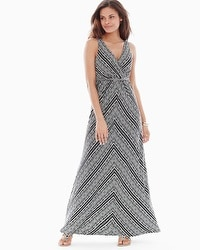 Surplice Maxi Dress Coastal Stripe Black
