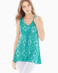 Live. Lounge. Wear. Knot Detail Sleeveless Top Shibori Stripe Parasail