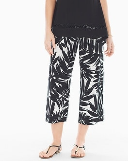 Live. Lounge. Wear. Wide-Leg Crop Pants Painted Palm Black