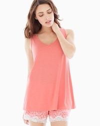 Embraceable Cool Nights Pajama Tank Coral Hype