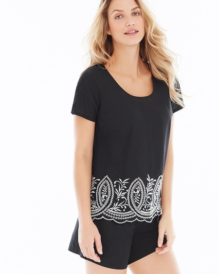 Cool Nights and Cotton Short Sleeve Pajama Top Impeccable Black Border
