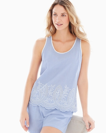 Cool Nights and Cotton Pajama Tank Impeccable Larkspur Border
