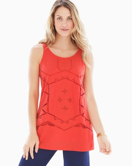 Cutwork Cotton Sleeveless Top Guava