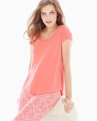 Embraceable Cool Nights Short Sleeve Pajama Tee Coral Hype