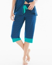 Embraceable Cool Nights Crop Pajama Pants Pleasant Scroll Navy