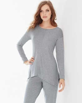 Natori Terry Sharkbite Hem Top Grey