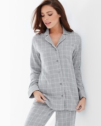 Naked Essential Long Sleeve Cotton Pajama Top Plaid Metro Heather Gray