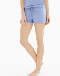 Naked Essential Cotton Blend Pajama Shorts with Trim Lavender Luster