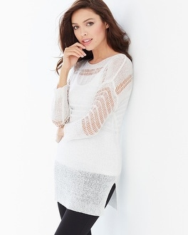 Miraclebody Slimming Drew Yarn Sweater White