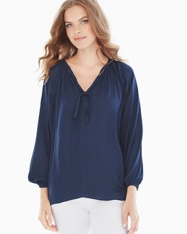 Miraclebody Slimming Paula Peasant Blouse Navy