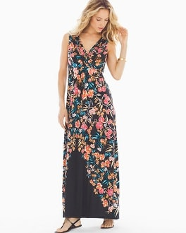 Wrapped Maxi Dress Effortless Placement Black