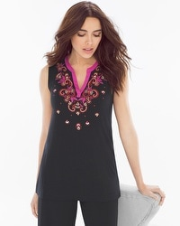 Embraceable Cool Nights Sleeveless Pajama Top Frolic Embroidery Placement Black
