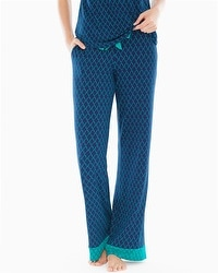 Embraceable Cool Nights Tall Pajama Pants Pleasant Scroll Navy