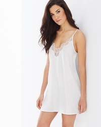 Natori Tranquility Pima Cotton Lace Sleep Chemise White