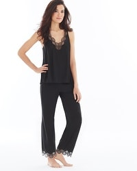 Natori Tranquility Pima Cotton Pajama Pants Set Black