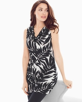 Sleeveless Cowlneck Tunic Painted Palm Black