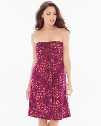Knot-Front Strapless Short Dress Tango Plum