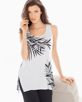 Side-Slit Tank Top Summer Palm Bright White