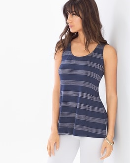 Side-Slit Tank Top Stitched Stripe Navy