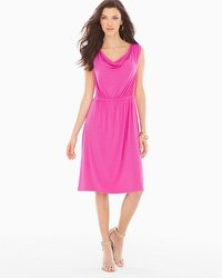Cowlneck Sleeveless Short Dress Rose Violet