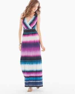Crochet-Back Sleeveless Maxi Dress Tide Stripe Rose Violet