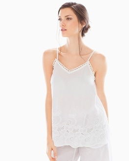 Island Eyelet Cotton Pajama Tank Bright White