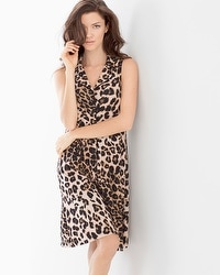 Embraceable Cool Nights Sleeveless Sleepshirt Lovely Leopard Natural