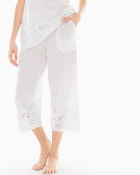 Island Eyelet Crop Pajama Pants Bright White