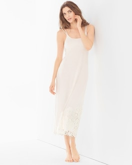 Cool Nights Lace Cutout Tea Length Nightgown Ivory