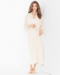 Cool Nights Lace Cutout Tea Length Robe Ivory