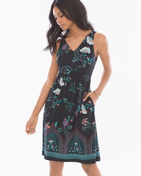 Shirred Sleeveless Short Dress Melodic Floral