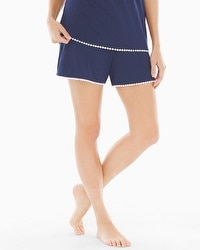 Embraceable Cool Nights Crochet Pajama Shorts Navy/Ivory
