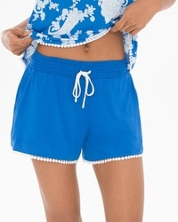 Embraceable Cool Nights Crochet Pajama Shorts Capri Blue/Ivory
