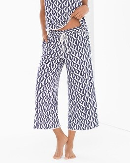 Cool Nights Crochet Crop Pajama Pants Haven Paisley Capri Blue