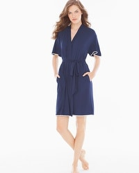 Embraceable Cool Nights Crochet Short Robe Navy/Ivory