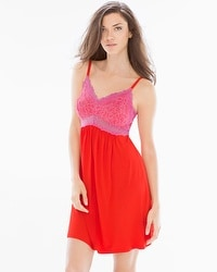 Cool Nights Lace Sleep Chemise Poppy Red/Rose Violet