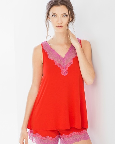 Lace Sleep Cami Poppy Red/Rose Violet