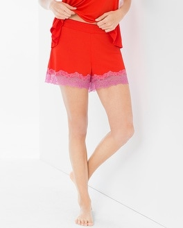 Cool Nights Lace Pajama Shorts Poppy Red/Rose Violet