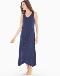 Embraceable Cool Nights Tea Length Nightgown Navy