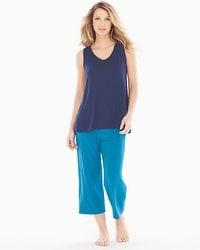 Cool Nights Crop Pants Pajama Set Mod Dot Peacock