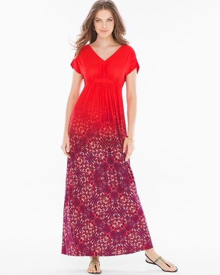Grecian-Inspired Maxi Dress Tango Ombre Poppy
