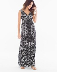 Chiffon Maxi Dress Arch Ikat Black