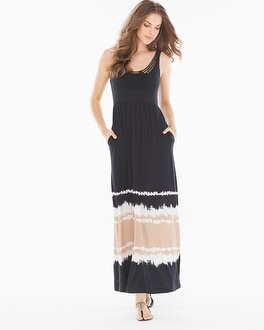 Soutache Maxi Dress Retreat Border Soft Tan