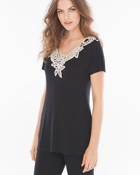 Live. Lounge. Wear. Crochet Short Sleeve Top Black