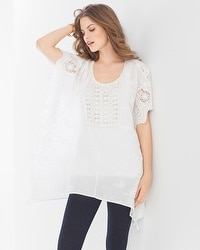 Live. Lounge. Wear. Woven Crochet Cotton Poncho White