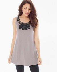 Live. Lounge. Wear. Soft Jersey Soutache Tunic Smokey Taupe