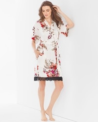 Floral Lace Short Sleeve Robe Floral Affair Ivory