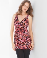 Live. Lounge. Wear. Soft Jersey Surplice Sleeveless Tunic Floret Paisley Black