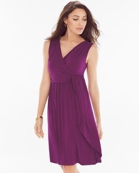 Draped Short Dress Henna Plum