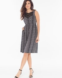 Short Lace Sleeveless Dress Eyelet Stripe Black